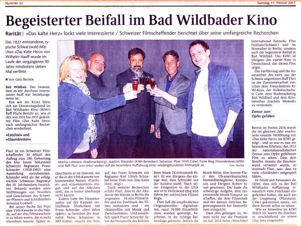 Auch wenn Franz Schnyder nie in Hollywood Regie führte, dennoch ein gelungener Artikel im Schwarzwälder Bote.