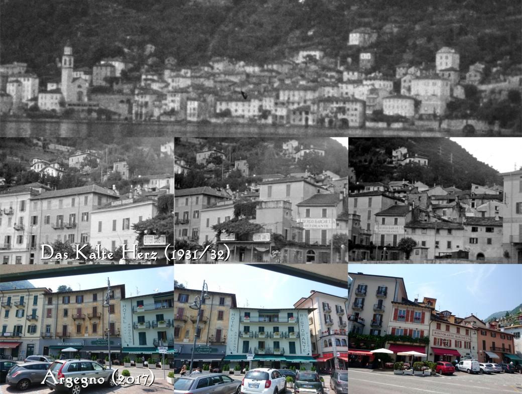 In seiner Weltreise fährt Peter Munk auf einem Schiff an einem italienischen Dorf vorbei... Es handelt sich dabei um Argegno. Die beiden Gebäude links im Bild sind noch ziemlich im Originalzustand belassen. Fotos: Raff Fluri