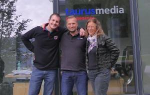 Nach Drehschluss: Hanne Junghans, Markus Altenberger, Raff Fluri (vrnl)