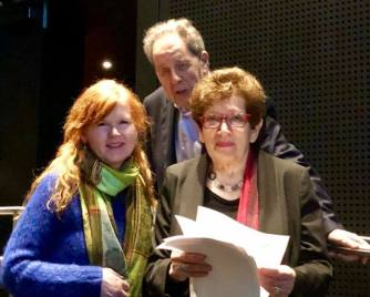 Sarah Cahill with François and Ann Mottier preparing for the introduction.