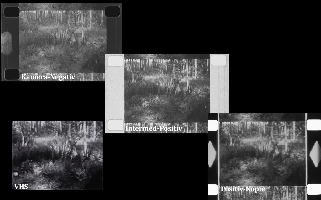 """Vergleich eines Kamera-Negativs, Intermed-Positivs und der Positiv-Kopie des selben Filmbildes aus dem Jahr 1932 (Kopie 1933) sowie einer VHS-Kopie von 1991. Szene aus """"Das Kalte Herz"""" (1933) von Karl Ulrich Schnabel. (c) Ann Mottier-Schnabel / Raff Fluri"""